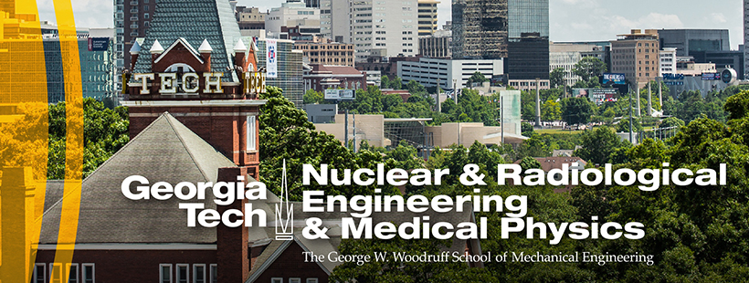 Nuclear & Radiological Engineering and Medical Physics logo over aerial shot of Tech Tower